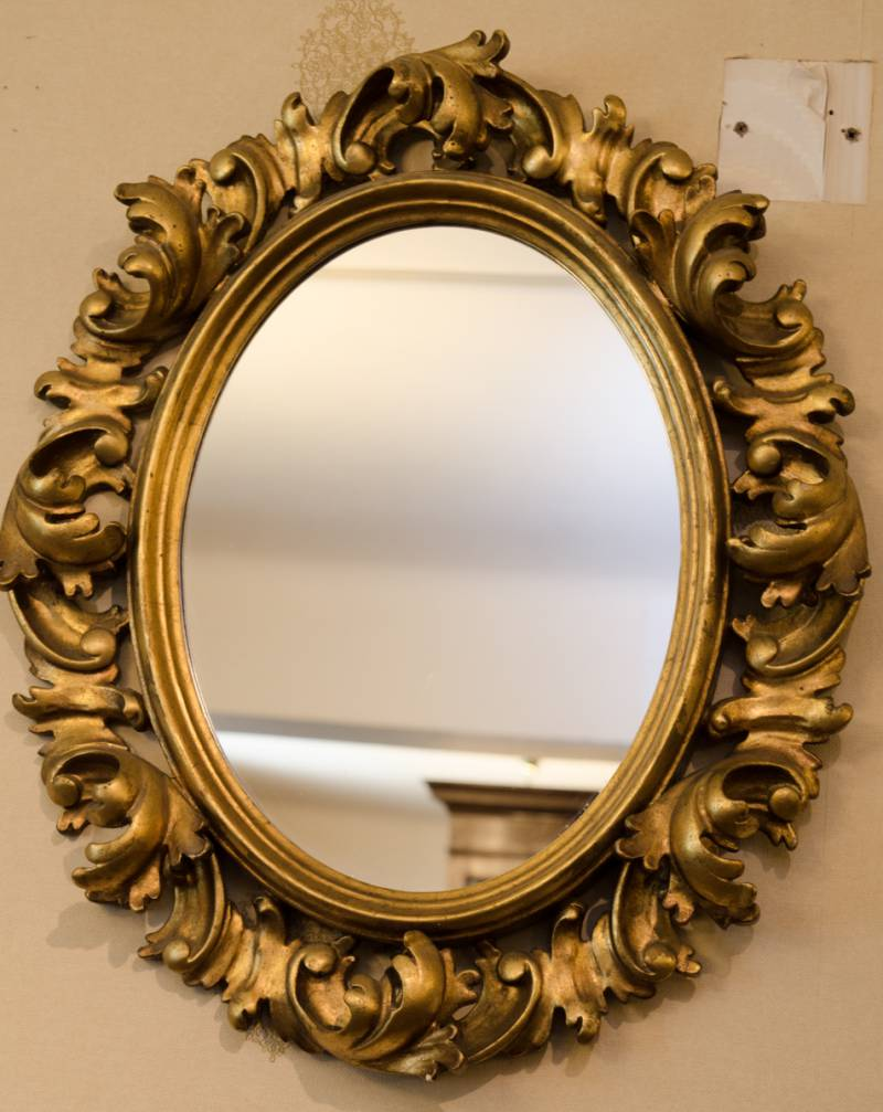 Gilded Oval Foliate Framed Mirror Antique Mirrors