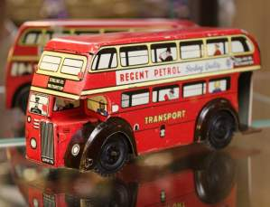 Tin Plate Double Decker Bus by Brimtoy