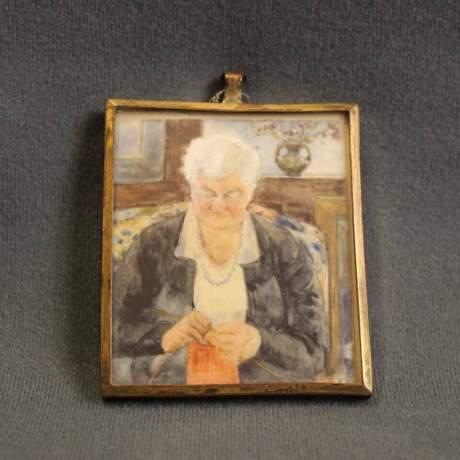 Mary Hallwood Antique Portrait Miniature image-1