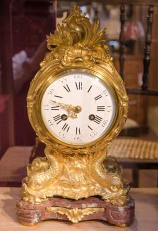French Gilded Bronze Clock on Marble Base image-1