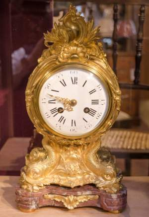 French Gilded Bronze Clock on Marble Base