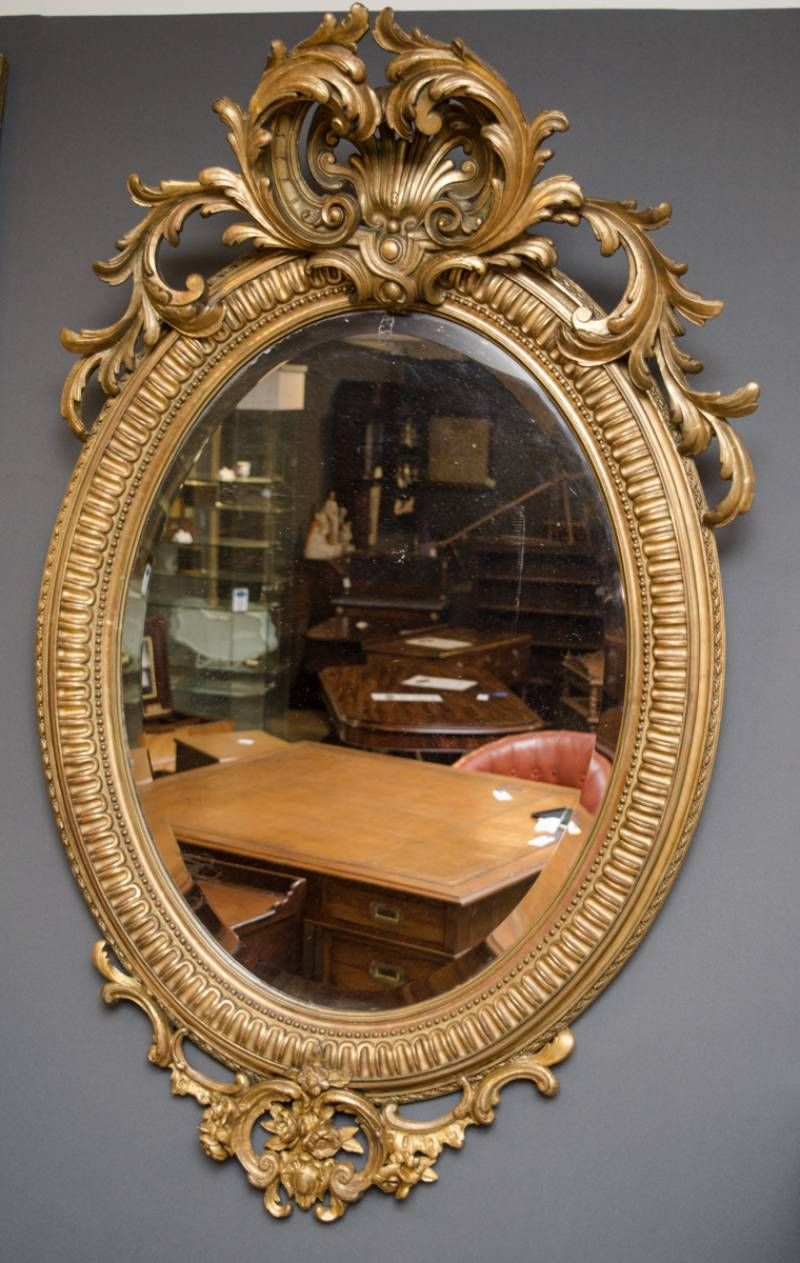 Superb 19th Century Gilt Wood Oval Wall Mirror Antique