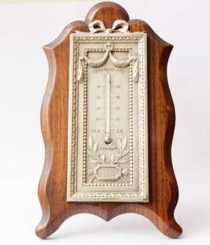 Victorian Silver and Rosewood Thermometer