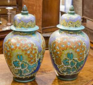 Pair of Large Gouda Ginger Jars