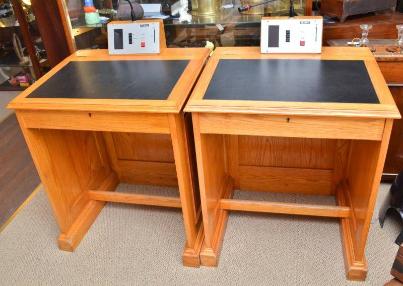 Pair of council desks furniture etc hemswell antique for Furniture etc