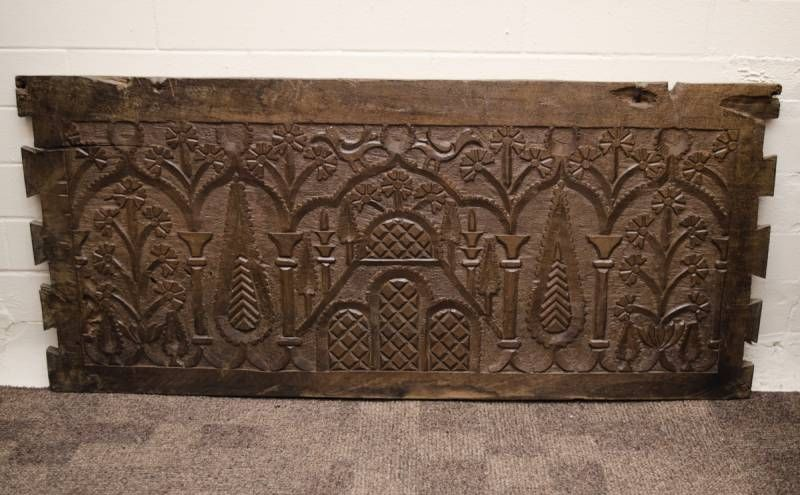 19th Century Folk Art Carved Wooden Panel