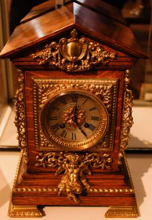 French 19th Century Oak and Bronze Clock