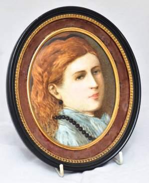 Pre Raphaelites Style Portrait on Ceramic