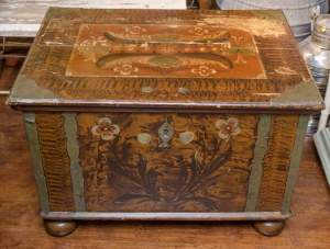 Swedish 19th Century Painted Pine Marriage Trunk