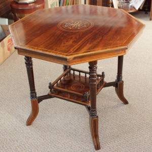 Edwardian Rosewood and Marquetry Inlaid Hexagonal Table