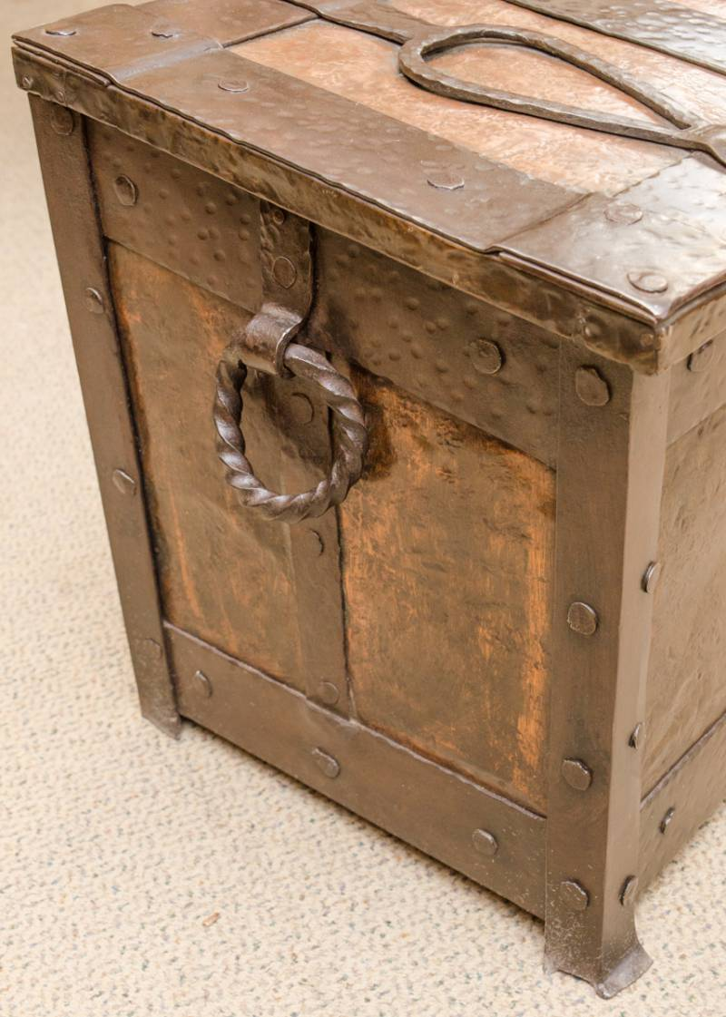 Arts and crafts copper and iron log box furniture etc for Furniture etc
