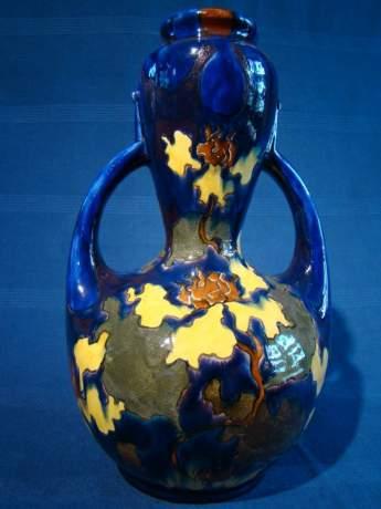 Austrian Art Double Handle Pottery Vase image-1
