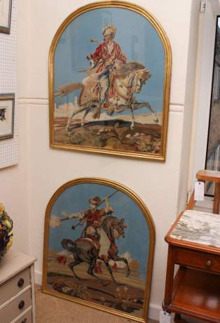 Pair of Framed 19th Century Tapestries image-1