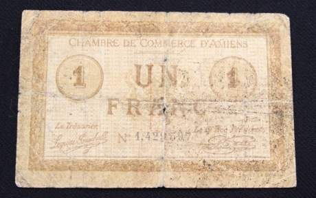 French One Franc Bank Note image-1