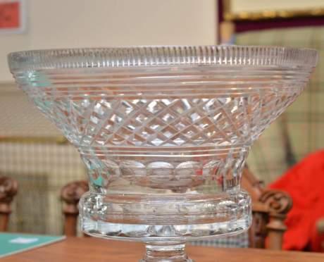 Heavily Cut Glass Pedestal Bowl image-3
