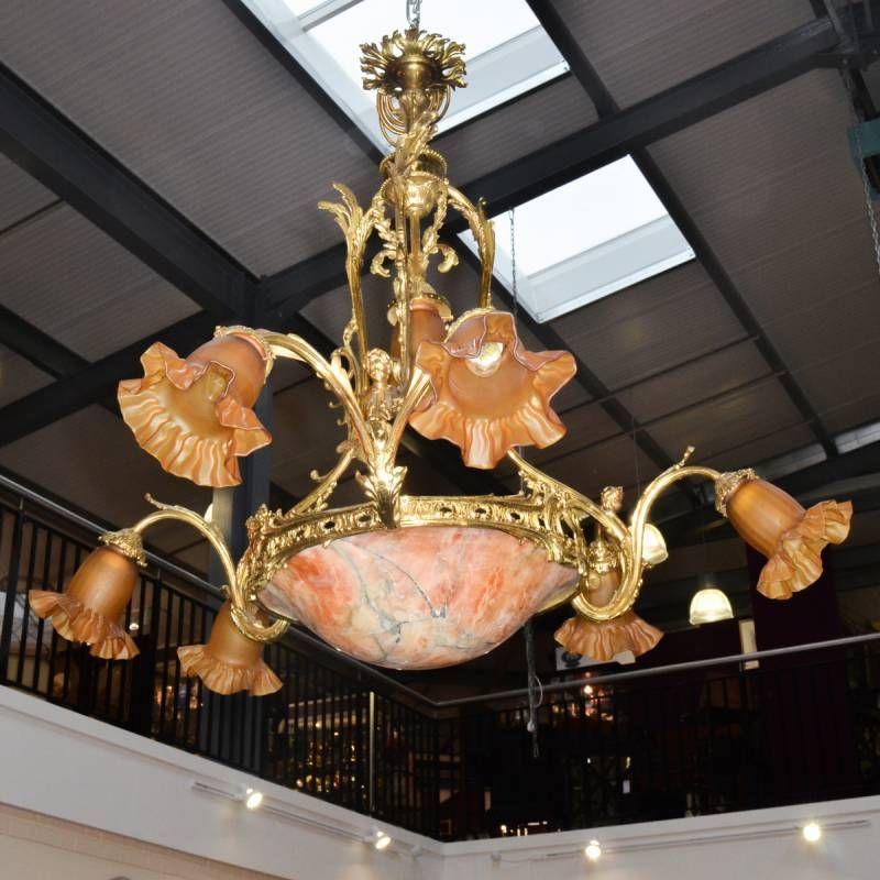 Beautiful french ornate brass chandelier