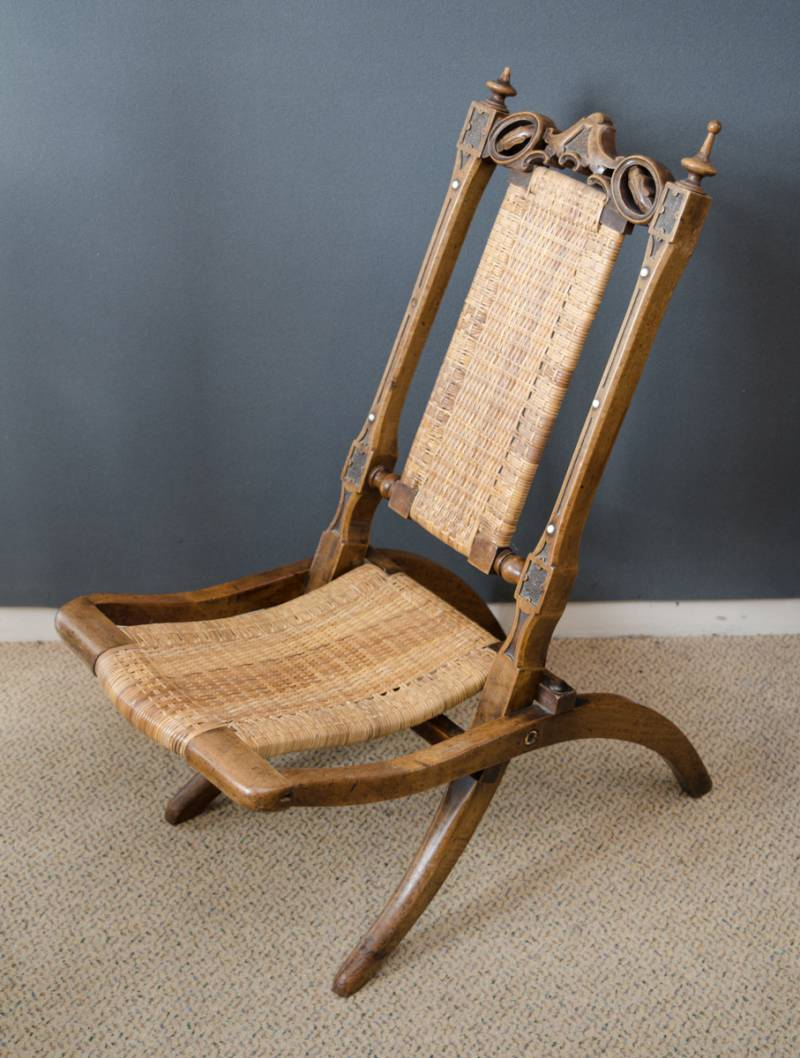 Victorian Walnut Childs Folding Steamer Chair - Victorian Walnut Childs Folding Steamer Chair - Antique Chairs