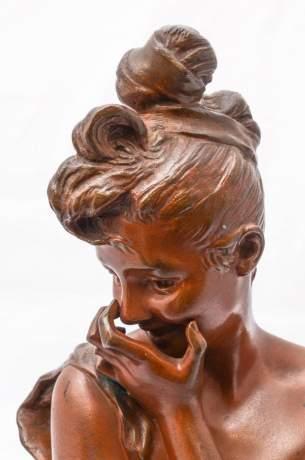 Georges van der Straeten Bronze Bust Le Rire image-4