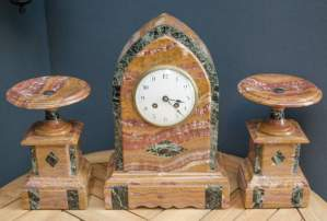 French Variegated Marble Clock Garniture