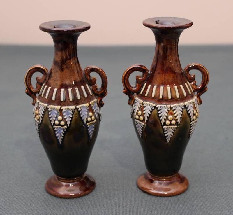 Small Pair Of Royal Doulton Stoneware Vases Antique Ceramics