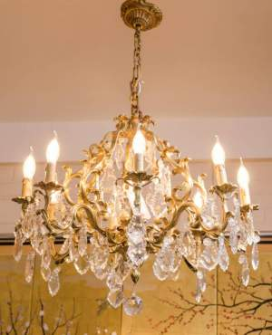 French Antique Gilded Bronze and Crystal Chandelier