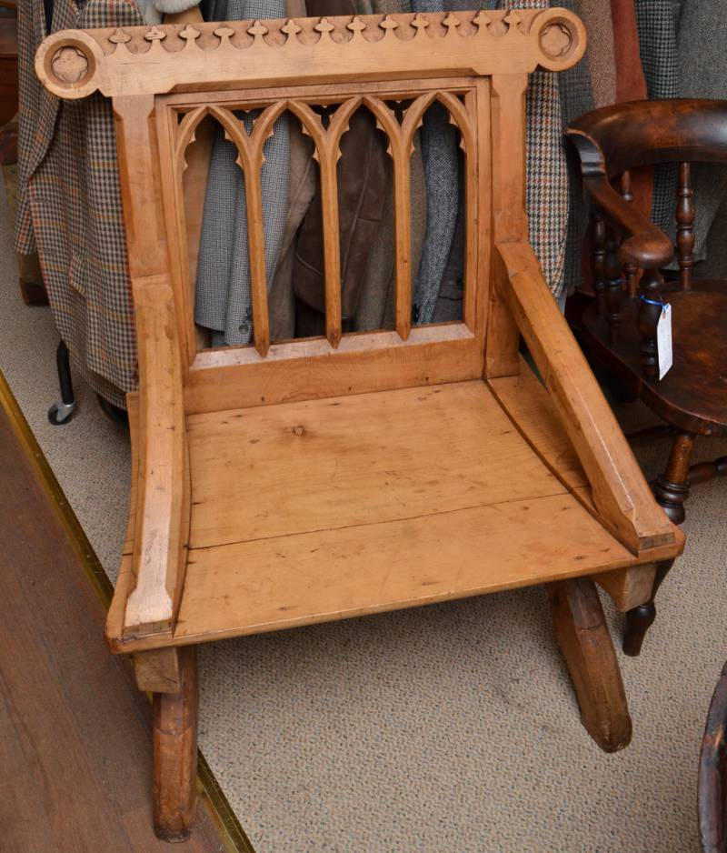 Beautiful gothic bishops chair in pitch pine furniture for Furniture etc