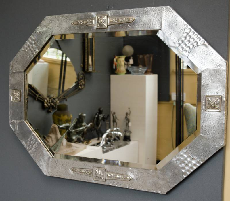 Arts and crafts pewter framed mirror metalware for Decorative crafts mirrors