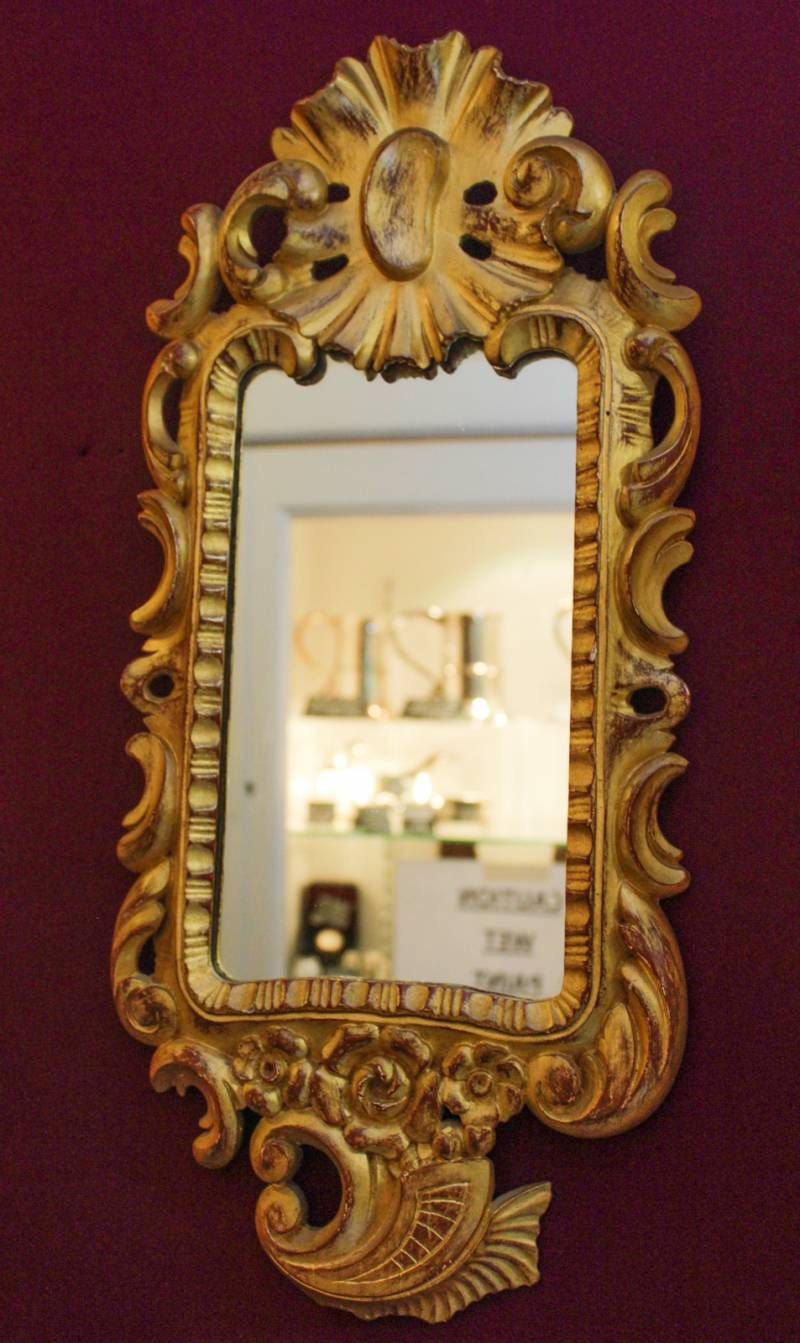 Carved Gilded Rectangular Shaped Mirror Antique Mirrors