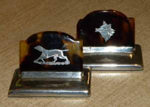 Pair of Tortoiseshell and Silver Menu Holders