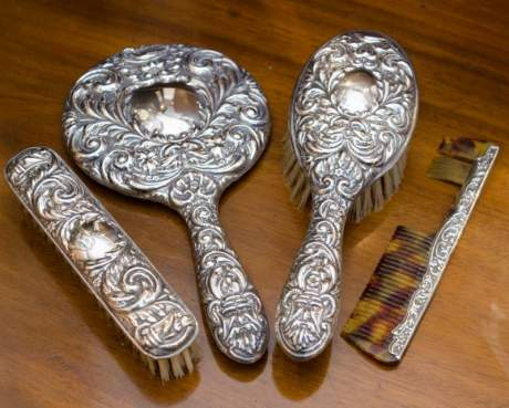 Silver Brush, Comb and Mirror Set image-1