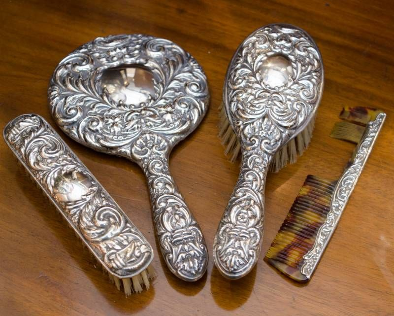 Silver Brush Comb And Mirror Set, Dressing Table Brush Comb Mirror Set