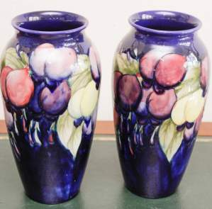Pair of Moorcroft Wisteria Pattern Vases