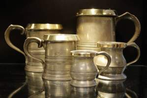 Collection of Five Antique Pewter Tankards