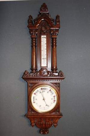 Heavy Oak Barometer with Porcelain Dials