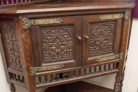 Antique Carved Oak Corner Cupboard image-3