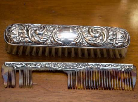 Silver Brush, Comb and Mirror Set image-2