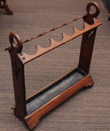 An Excellent Mahogany Victorian Gothic Style Stick Stand With Tray image-1