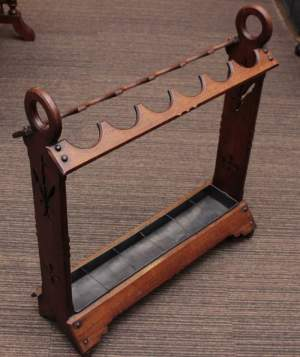 An Excellent Mahogany Victorian Gothic Style Stick Stand With Tray