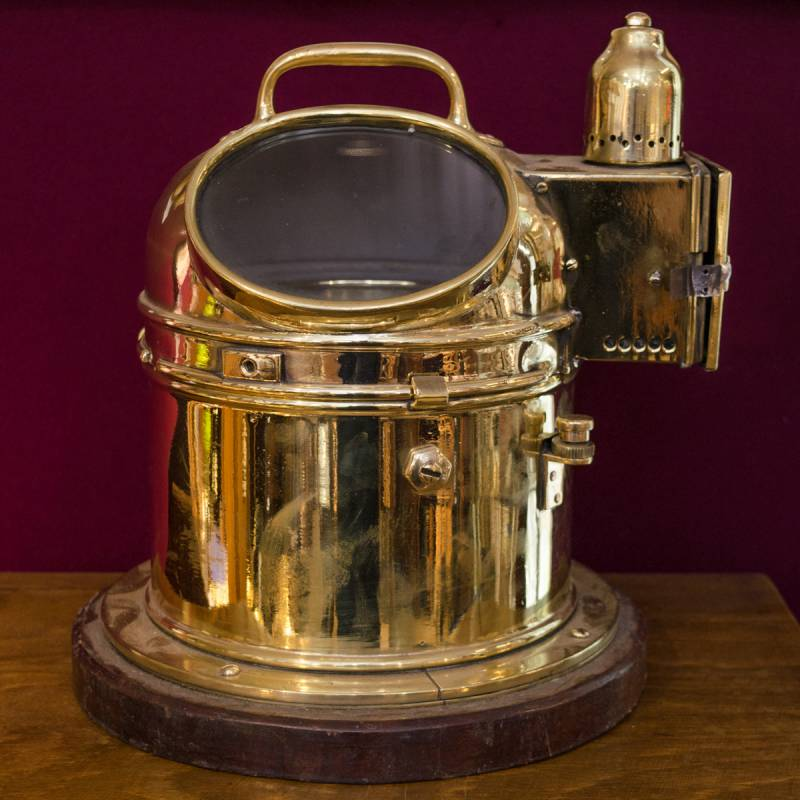 Vintage Brass Skylight Binnacle Yacht Compass