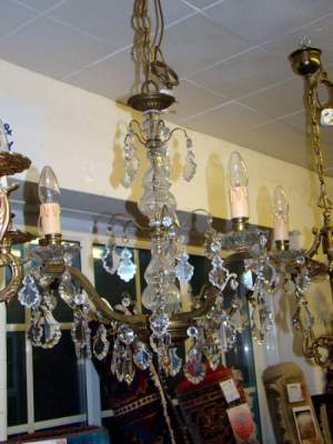 Five Branch and Crystal Chandelier
