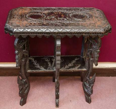 Heavily Carved Black Lacquered Table image-1