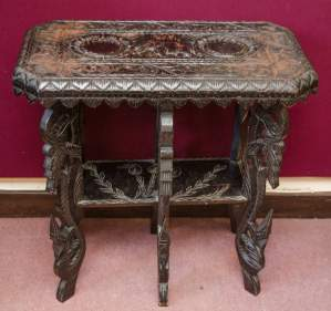 Heavily Carved Black Lacquered Table