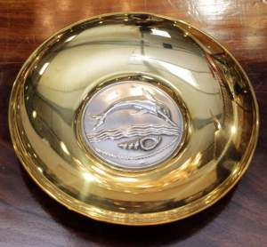 Ilias LaLaounis Silver and Brass Dolphin Dish
