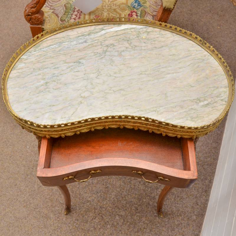 Antique Marble Side Table Reading: French Marble Top Side Table