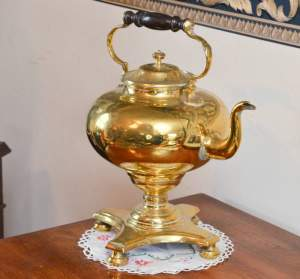 Unusual Victorian Quality Brass Kettle on Matching Stand
