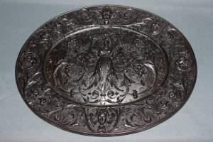 Cast Iron Bas Relief Oval Plaque