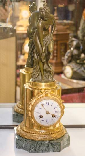 French Bronze and Gilded Bronze Clock