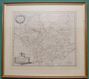 Antiquarian Map of Leicestershire by Robert Morden