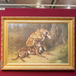 Two Wolfhounds by Graham Isom Oil on Canvas