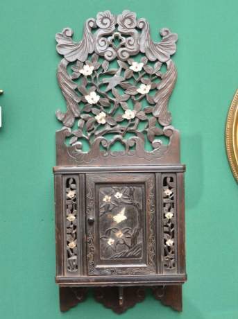 Oriental Carved Wall Cupboard with Mother of Pearl Decoration image-1
